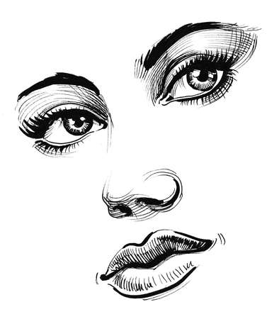 Beautiful female face. Ink black and white drawing