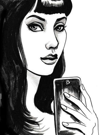 Pretty brunette woman taking selfie with a smartphone