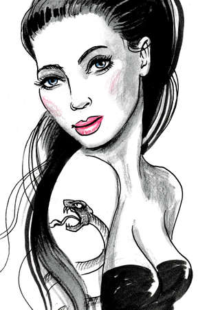 Pretty woman with a snake tattoo on her shoulder. Stok Fotoğraf