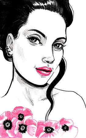 Pretty brunette girl with pink flowers. Ink illustration Stok Fotoğraf