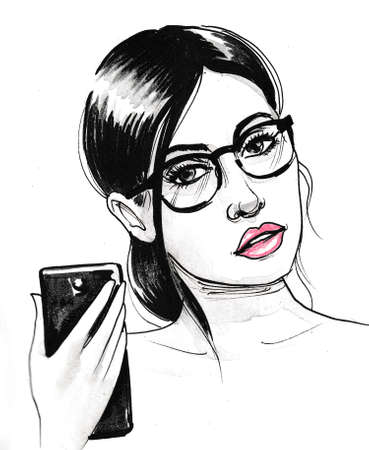 Pretty girl taking selfie. Ink black and white drawing