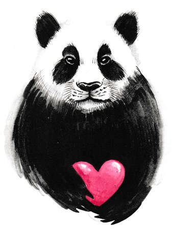 Cute panda bear with a red heart. Ink and  illustration 版權商用圖片