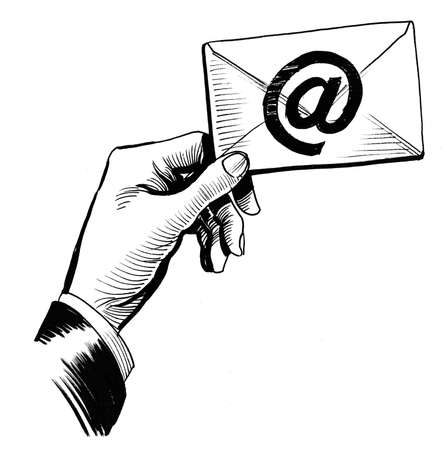 Hand with an email. Ink black and white illustration