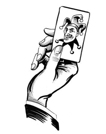 Hand with a joker card. Ink black and white illustration