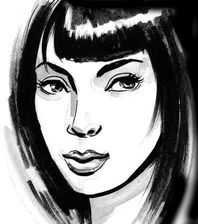 Pretty woman with a long black hair. Ink and  illustration