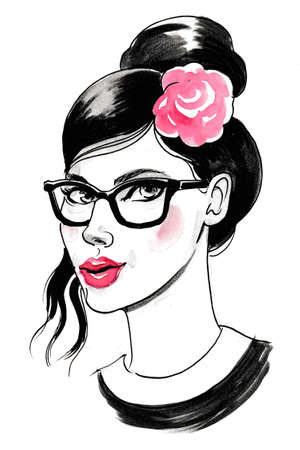 Beautiful woman in glasses with a rose in her hair. Ink and  illustration