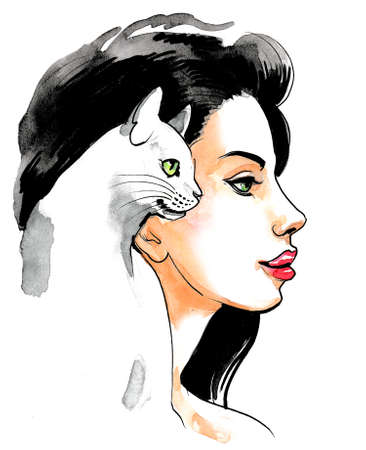 Pretty brunette woman with a white cat. Ink and watercolor