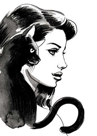 Pretty girl with a black cat. Ink and watercolor Stok Fotoğraf
