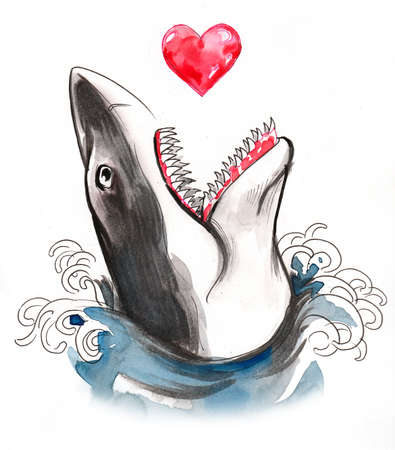 Big shark biting a red heart. Ink and watercolor illustration