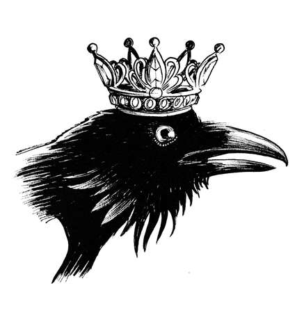 Crow in crown. Ink black and white illustration