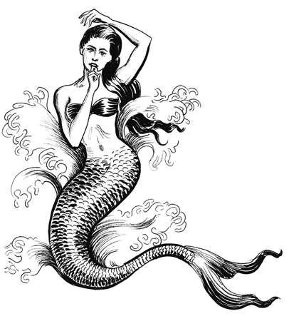Beautiful mermaid. Ink and watercolor illustration