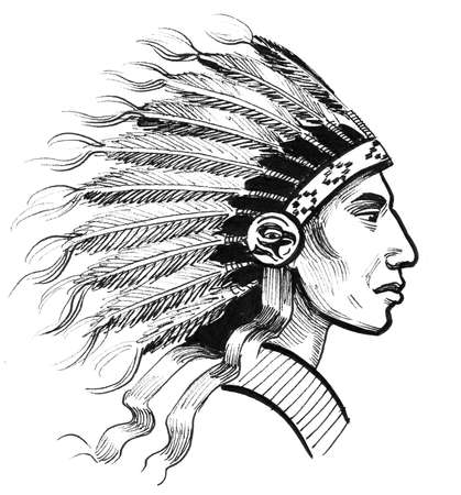 Indian chief. Ink black and white drawing 스톡 콘텐츠