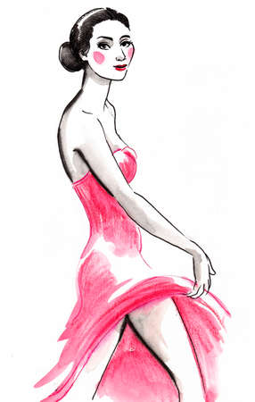 Beautiful woman in pink dress. Ink and watercolor illustration
