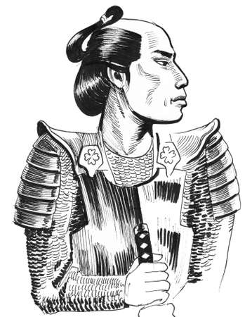 Samurai warrior. Ink black and white illustration Stockfoto