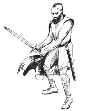 Viking warrior with a sword. Ink black and white illustration