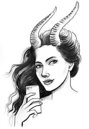 Pretty girl with horns taking selfie photo Stock Photo