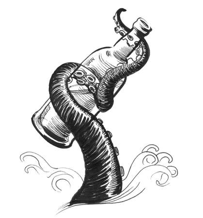Octopus tentacle holding a bottle. Ink black and white drawing