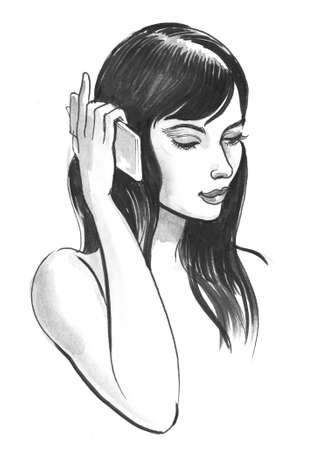 Girl talking on the smartphone. Ink and watercolor illustration