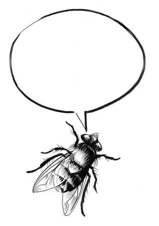 Fly and speech balloon. Ink black and white drawing