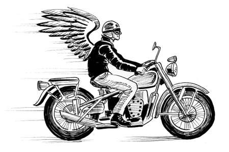 Winged rider on a riding a vintage motorcycle. Ink black and white drawing
