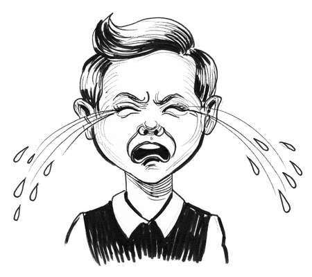 Crying boy character. Ink black and white drawing