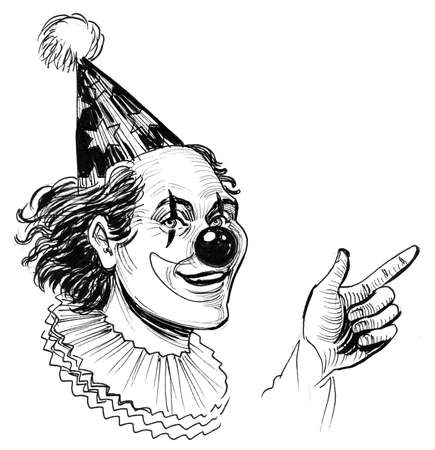 Clown pointing up. Ink black and white illustration
