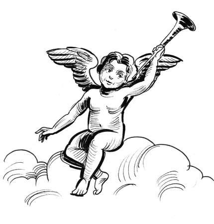 Cupid angel with a trumpet sitting on a cloud. Reklamní fotografie