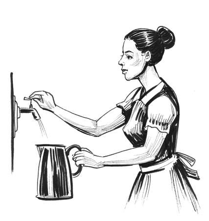 Woman filling kettle with tap water. Ink black and white illustration Stock Photo