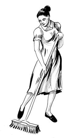 Housewife mopping floor. Ink black and white drawing Stockfoto