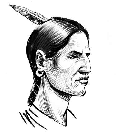 Indian warrior. Ink black and white drawing Stockfoto