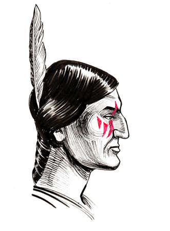 Native American warrior. Ink black and white drawing Stockfoto - 108837849