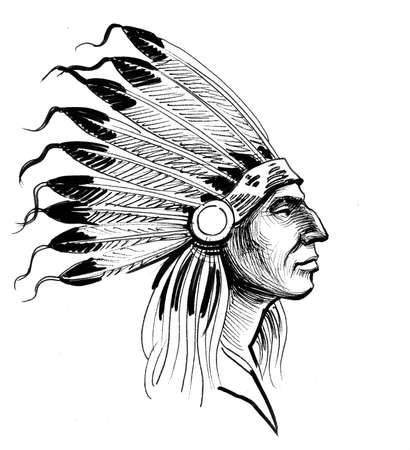 Indian warrior. Ink black and white illustration Stock Photo