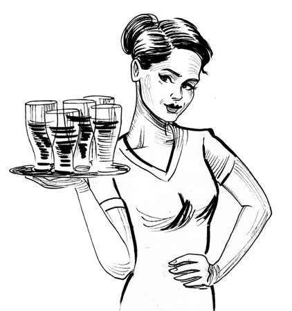 Pretty waitress with a tray and beer glasses. Ink black and white drawing