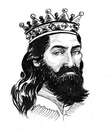 King in crown. Ink black and white illustration
