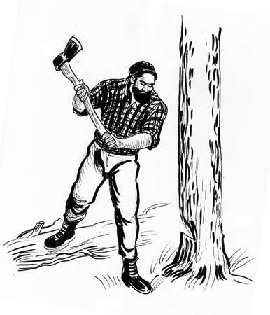 Lumberjack with an axe cutting tree. Ink black and white drawing