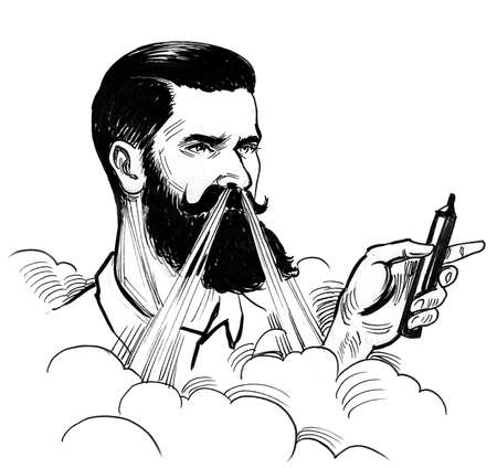 Hipster man with a vaporizer. Ink black and white drawing Stock fotó - 108837854