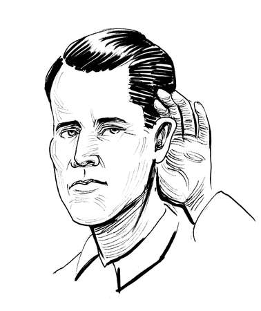 Listening man. Ink black and white drawing Banco de Imagens