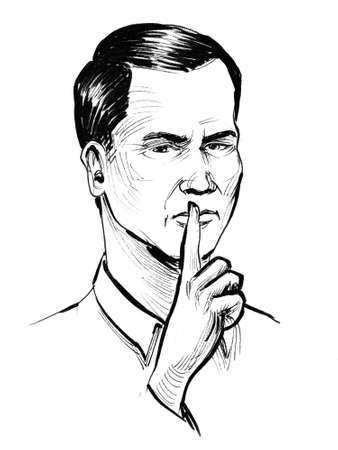 Man showing silence sign. Ink black and white illustration