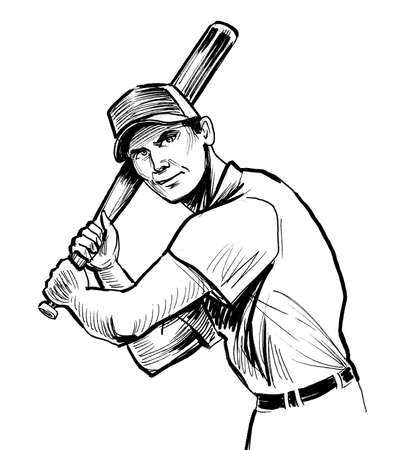 Baseball player. Ink black and white sketch Stockfoto