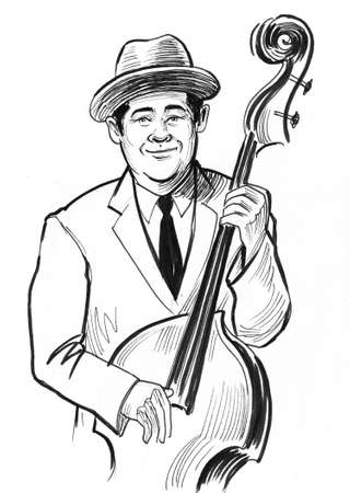 Man playing upright basses musical instrument on white 写真素材