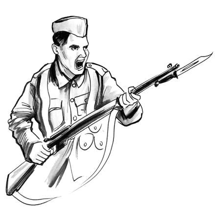 Attacking soldier with a riffle. Ink black and white illustration Stock Photo
