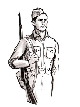 Soldier on duty. Ink black and white drawing