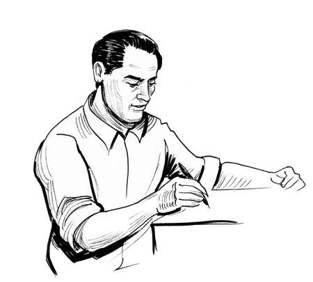 Man writing at the table. Ink black and white drawing Stockfoto - 108449281