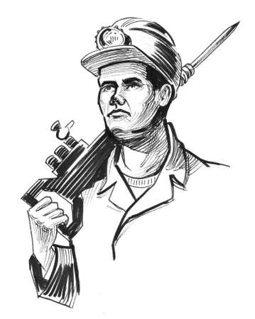Miner with an automatic hammer. Ink black and white illustration