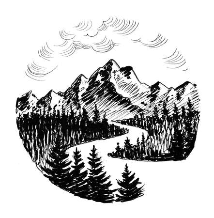 Mountain river. Ink black and white illustration
