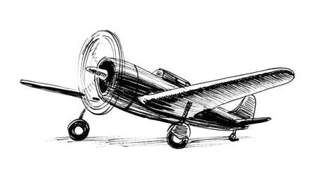 Ink black and white drawing of a war plane