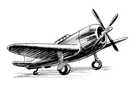 World War two plane. Ink black and white drawing 스톡 콘텐츠