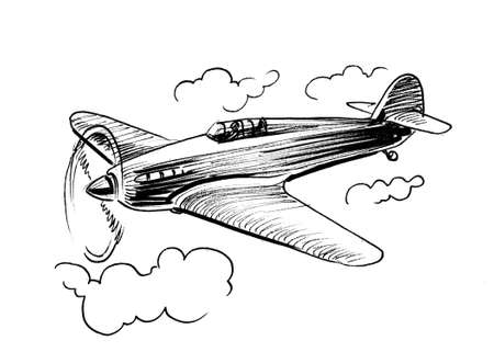 Retro military plane in the sky. Ink black and white illustration