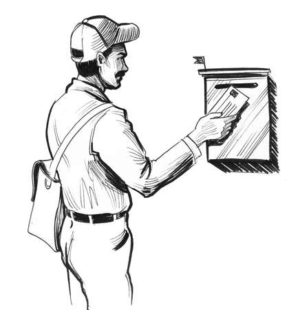 Mailman delivering letter. Ink black and white drawing