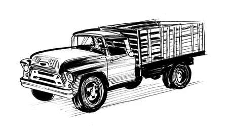 Old American truck. Ink black and white drawing Stockfoto